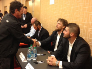 Getting autographs - Pence and Kontos