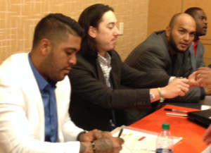 Play Ball Luncheon - After 5 years, finally got Tim's autograph. With Sanchez, Petit and Casilla