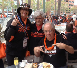 Celebrating 3 trophies with a pre-game breakfast: Julia, Joan and Bob